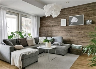 Zien: Scandinavisch interieur met houten muur