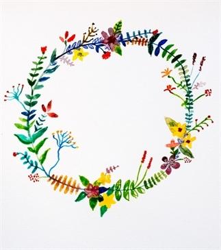 Maak een bloemenkrans met aquarelverf