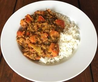 Curry met linzen en tomaten voor 1 persoon