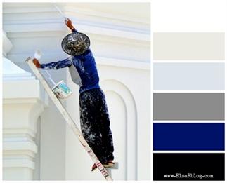Kleurpalet met donkerblauw, zwart, grijs en wit.