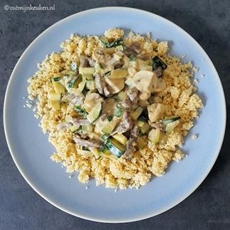 Couscous met biefstuk en groente, slechts 490 kcal