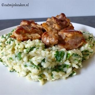 Kruiden risotto (vega of met een stukje kip)