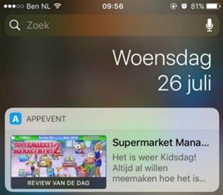 Nieuwe update van de app: AppEvent widget